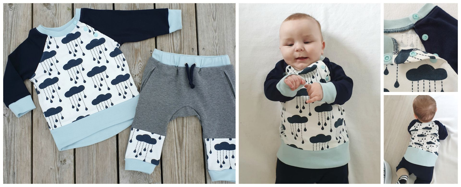 Baby Sweater | Romper |  Beginner PDF Sewing Pattern.<span>Blue stripe cotton knit fabric baby jogging pants and sweatshirt. Baseball applique. Frocks and Frolics pdf sewing pattern.</span>