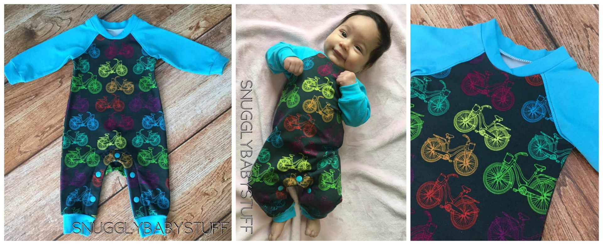 Baby Romper PDF Sewing Pattern | Age Newborn | Kam Snaps<span>Baby boy romper. Has snaps, long sleeves, cuffs and a bound neckline. Frocks and Frolics pdf sewing pattern.</span>