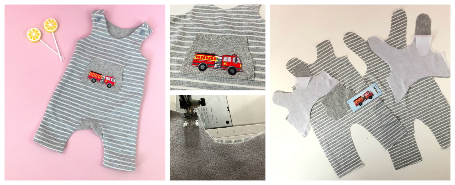 Baby Pinafore | Romper | Dungies. Beginner PDF Sewing Pattern.<span>Grey stripe cotton knit fabric baby romper. Firetruck applique. Frocks and Frolics pdf sewing pattern.</span>
