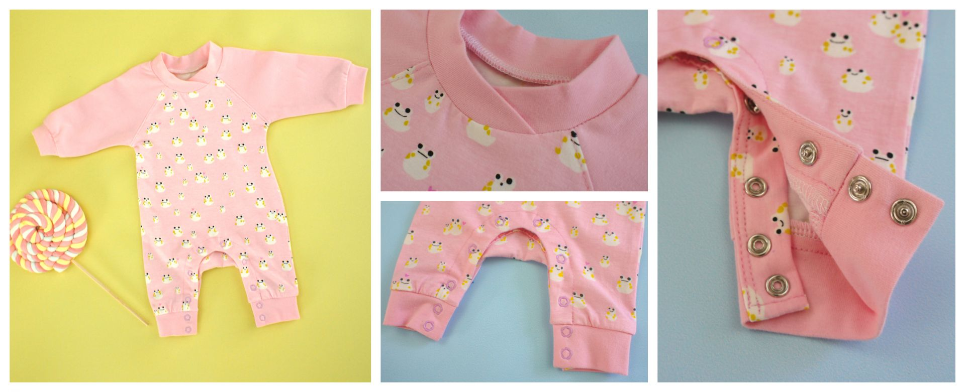 Baby Romper PDF Sewing Pattern <span>Pink pretty baby romper. Has snaps, long sleeves, cuffs and a bound neckline.Frocks and Frolics pdf sewing pattern.</span>